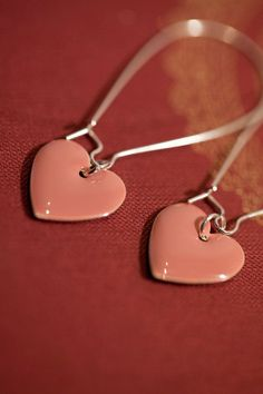 Rose Pink Earrings . Enameled Heart . Spring Collection… - Rose Pink Enameled Earrings