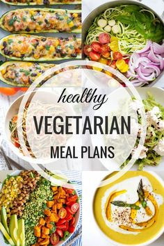 Healthy Vegetarian Meal Plans- an entire week of quick, easy and nutritious meals that the whole family will love! (with vegan and gluten-free options) meal planning Veggie Recipes, Diet Recipes, Healthy Recipes, Healthy Options, Delicious Recipes, Vegan Options, Catering Recipes, Chicken Recipes, Cajun Recipes