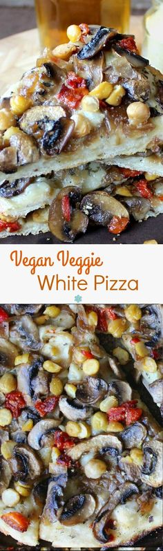 Vegan Veggie White Pizza is a great way to change up regular tomato pizzas. Dough recipe is included or buy your own. Stack veggies as thick as you like!