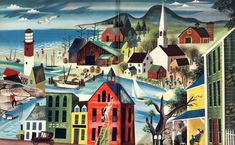 Leonard Weisgard This painting has everything that inspires me....The church, the lighthouse and the sea... Love it!