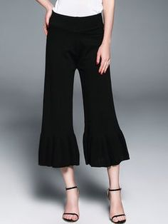 Black Solid Casual Cotton-blend Knitted Wide Leg Pants