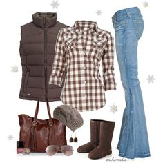 Brown and white small scale buffalo check blouse with long sleeves, collar, and chest pockets, brown sleeveless quilted down vest, light blue flared jeans, light brown knit slouchy hat, brown uggs, large leather cordovan bag with fringed straps, brown pendant ear rings, metal shades with light brown lenses, cosmetics