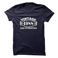 Vintage 1988 Aged to Perfection T Shirts, Hoodies. Check price ==► https://www.sunfrog.com/Birth-Years/Vintage-1988-Aged-to-Perfection-18237125-Guys.html?41382