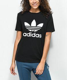 9304b703f02f7 adidas Trefoil Boyfriend Fit Black T-Shirt