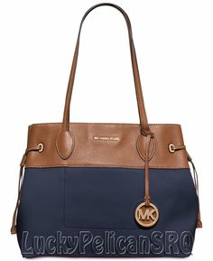 Michael Kors Marina N/S Large Drawstring Tote Bag Handbag Navy Blue NWT #MichaelKors #TotesShoppers