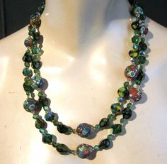 Vintage 2 Strand Necklace Emerald Green AB Crystal Art Glass Millefiori Beads