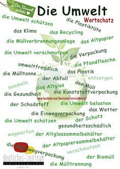 Umwelt Deutsch Wortschatz Vocabulario DAF German Alemán Medio ambiente