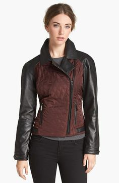 Vince Camuto Leather & Quilted Fabric Moto Jacket (Online Only) | Nordstrom