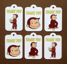 Curious George Thank You Tags. Curious George Birthday Tags . Curious George Party Favors . Set of 12