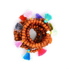 Wood Bead Tassel Bracelets