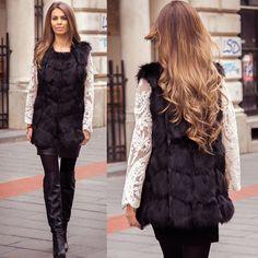 Vesta Blana Snow Black • Chic Diva  lungimea este de 70 cm- chic look este realizata din insertii de blanita , intre fâsii de piele- blanita eco sintetica blana densa - pufoasa si fina la atingere Black Fur Vest, Winter Jackets, Superhero, Chic, How To Wear, Fashion 2015, Fur Coats, Girls Wear, Passion