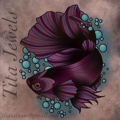 Betta fish by Tita Jewels at Little Pricks Tattoo Studio. Titatattoos.tumblr.com Contact: Titatattoos@gmail.com