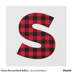 Classic Red and Black Buffalo Plaid S Monogram Faux Canvas Print S Monogram, Monogram Gifts, Holiday Cards, Christmas Cards, Christmas Card Holders, Buffalo Plaid, Keep It Cleaner, Wrapped Canvas, Anna Lee