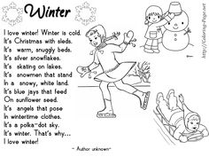 kid poems about winter - Google Search