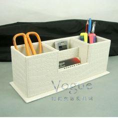 沃戈 皮革双笔筒名片座 皮革笔筒 储物座 收纳架 文具办公收纳-淘宝网