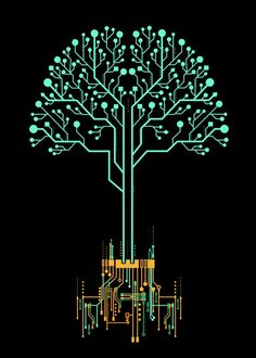 technology art - Tree of information by Noel delMar metal posters Graphisches Design, Display Design, Design Tech, Tech Art, Metal Tree Wall Art, Metal Art, Technology Design, Science Art, Graphic Design Posters