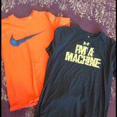 Nike and UA Men's Large Tees Orange Nike and a lack UA short sleeve tees. Nike Tops Tees - Short Sleeve