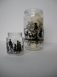 Images printed on transparencies or vellum paper can be used on jars or tumblers for candle holders