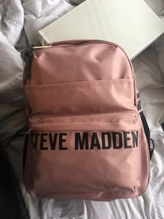 111e338634 BRAND NEW Steve Madden Text Graphic Pink or Coral Backpack BFORCE DR121745