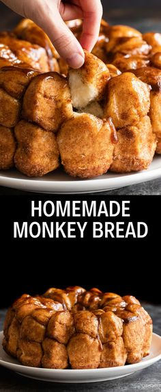 Cinnamon Monkey Bread - - This classic Monkey Bread recipe starts with a homemade dough that is rolled into bite-sized balls and coated in butter and a cinnamon sugar mixture. Homemade Monkey Bread, Cinnamon Roll Monkey Bread, Cinnamon Rolls, Monkey Balls Recipe, Köstliche Desserts, Dessert Recipes, Bread Bites Recipe, Basic Dough Recipe, Caramel Recipes
