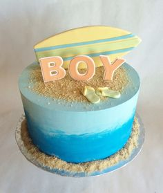 Baby Shower Cakes | boy | two toned buttercream | beach | surfer theme | surfboard | flip flops | sand