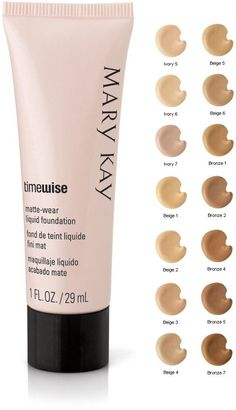 Mary Kay TimeWise Matte Wear or Luminous-Wear Liquid Foundation Shades  Email, call or text to order www.marykay.com/amanda.keith 251-367-5889 amanda.keith@marykay.com