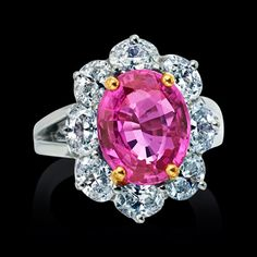Oscar Heyman Collection, a stunning pink sapphire and diamond ring set in platinum. Pink Jewelry, Luxury Jewelry, Saphir Rose, Pink Sapphire Ring, Pink Bling, Beautiful Engagement Rings, Fashion Rings, Cocktail Rings, Gemstones