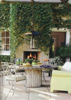 OUTDOOR ROOM – Absolutely beautiful outdoor living. Love the oversized lantern in this outdoor room.