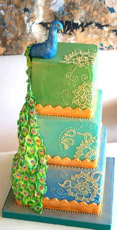 Portfolio | Flutterby Bakery - Indian Wedding Cake with gold henna piped detail