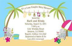 BABY SHOWER LUAU THEME BEACH INVITATION