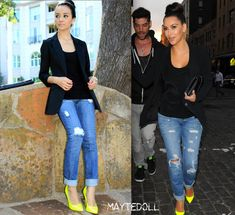 Black T Shirt, Black Blazer, Distressed Cuffed Jeans and Neon Yellow Pumps, worn exquisitely with a high bun