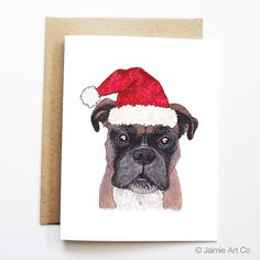 Christmas Card  Boxer Dog Christmas Card Cute by JaimieArtCo
