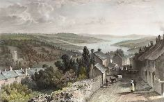 A View from Penryn, Looking Towards Flushing, Cornwall, England. Original steel engraving drawn by T. Allom, engraved by M. Devon England, Cornwall England, Antique Prints, Vintage Prints, Truro Cornwall, South West Coast Path, Winter Walk, Old Paintings, British Isles