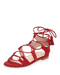 Romanflat+Suede+Flat+Gladiator+Sandal,+Pomodoro+by+Stuart+Weitzman+at+Neiman+Marcus.