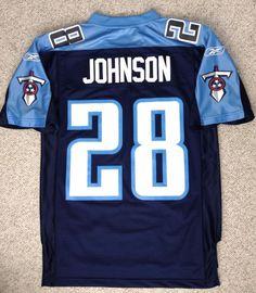 dded49023d7 vtg Sewn Reebok CHRIS JOHNSON  28 TENNESSEE TITANS JERSEY Mens Small  Blue White  Reebok  TennesseeTitans