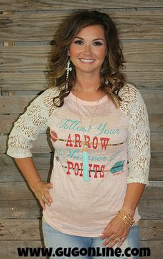 Follow Your Arrow Wherever It Points Light Pink Burnout With Ivory Sleeves www.gugonline.com $28.95