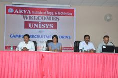 Arya Main Campus hosted the Campus Recruitment Drive of UNISYS for B.tech 2014 Batch .