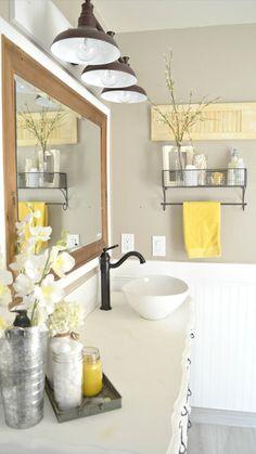 How to Easily Mix Vintage and Modern Decor - Little Vintage Nest Vintage Farmhouse Bathroom Decor Farmhouse Bathroom Accessories, Yellow Bathroom Decor, Modern Farmhouse Bathroom, Yellow Bathrooms, Bathroom Wall Decor, Bathroom Interior, Small Bathroom, Bathroom Ideas, Bathroom Lighting