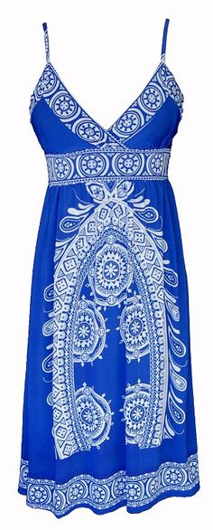 Blue Tribal Cami Dress...could use this for Hawaii...