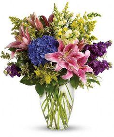 Love Everlasting-This elegant vase design includes hydrangea, stargazer lilies and more. #BicesFlorist #FortWorthFlorist #SympathyFlowers