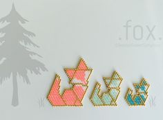 Fox Bead Pattern - 3 sizes - Brick Stitch or Peyote Stitch - bead crafts Bead Embroidery Patterns, Bead Loom Patterns, Perler Patterns, Beaded Jewelry Patterns, Peyote Patterns, Weaving Patterns, Beaded Embroidery, Bracelet Patterns, Bead Jewelry