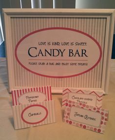 Cute candy buffet signs for weddings, parties, showers! These files are DIY printable and editable but I'll customize the font and color first for you! Visit my full shop at http://www.etsy.com/shop/JkinDesigns!