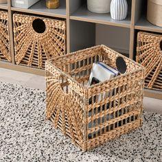 Ikea Basket, Wicker Baskets, Wood Basket, Warm Color Schemes, Warm Colors, Kallax Shelving Unit, Kallax Regal, Basket Shelves, Baskets For Storage