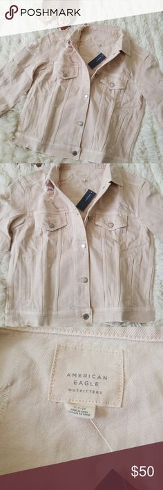 Pink Distressed Jean Jacket Brand new. Distressed Jean Two waist pockets  Two chest pockets   Super stylish with jeans and your favorite pair of flats. American Eagle Outfitters Jackets & Coats Jean Jackets