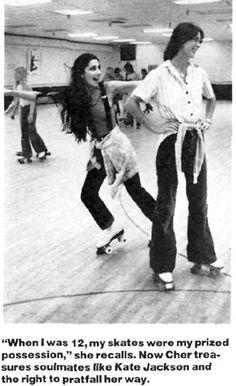 """SKATE~Cher and Kate Jackson (Charlie's Angels """"Sabrina"""") - Vintage Pop Culture: Rollermania Roller Disco, Roller Rink, Roller Derby, Roller Skating, Good Morning Angel, I Got You Babe, Kate Jackson, Cher Bono, Celebs"""