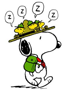 Scoutmaster Snoopy With Woodstock and Three Friends on Snoopy's Hat Napping