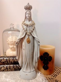 Vintage Replica Virgin Mary Madona Statue French Nordic with Beaded Religious Emblem Necklace by lamoneeboutique on Etsy