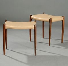 N.O. Moeller stools/rosewood (replaced leather upholstery)