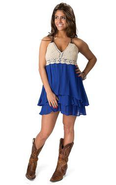 Double Zero Women's Royal Blue with Cream Crochet Sleeveless Dress