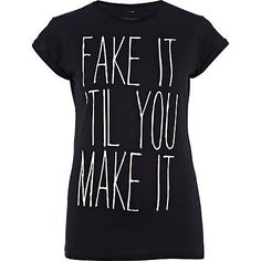 black fake it print t-shirt - print t-shirts / vests - t shirts / vests / sweats - women - River Island